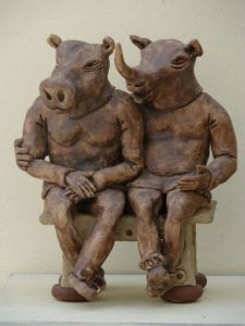 Sculpture de Guillaume Chaye: Amis pour toujours hippo-rhino