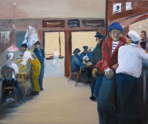 Le bistrot du port peinture francis kuhlen - Le bistrot du port honfleur ...