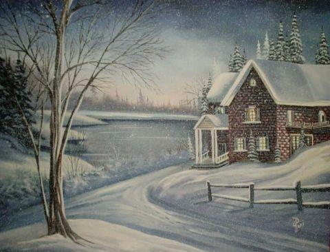 Maison campagne peinture jacques pare for Peinture acrylique maison