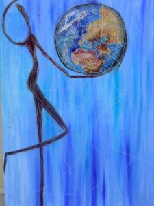 Peinture de jmp: Man holding the earth