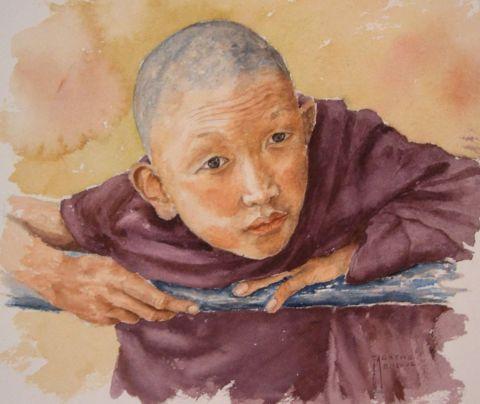 Moine tibetain peinture agathe bonnet for Agathe bonnet