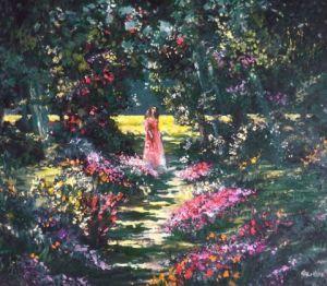 L\'artiste FRANCIS KELLER - Femme dans un jardin de fleurs