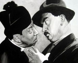 Peinture de david: don camillo et peppone