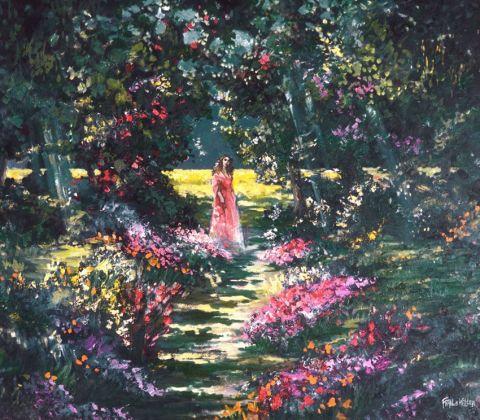 Femme dans un jardin de fleurs peinture francis keller for Un jardin de fleurs