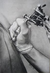 Dessin de Melanie: machine a tatouer