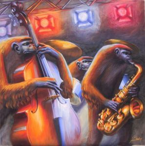 Peinture de jeff bailey: Orange and Blue Note