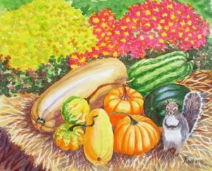 Peinture de Piacheva Natalia: A Squirrel and Pumpkins