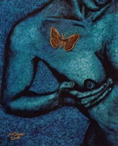 Peinture de JOEL DIDIER: NIGHT BUTTERFLY AND BLUE LADY