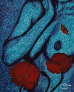 Peinture de JOEL DIDIER: BUTTERFLY OF DAY AND BLUE LADY