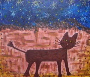 Peinture de Elodie LOUIS: Chat d'artifices