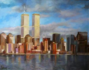 Peinture de Mario BAROCAS: twin towers in New York