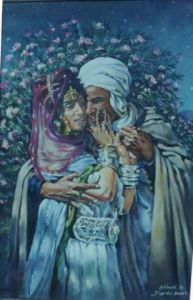 Peinture de krimo: le couple de ouled nail reproduction d'apres Dinet