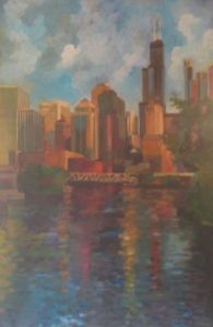 Peinture de Mario BAROCAS: Seart tower in Chicago