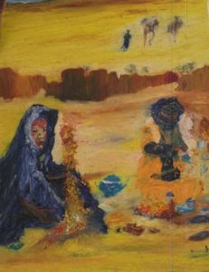 Peinture de JACQUES BOUCHARIF: un the au sahara