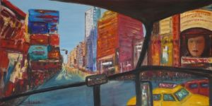 Peinture de Olivia: New York by Bus    VILLE ROUGE