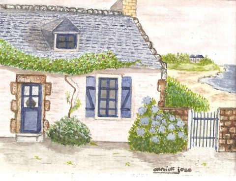 Maison bretonne peinture annick joze - Maison traditionnelle bretonne ...