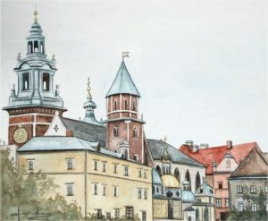 Peinture de Caroline HARDY: la Cathédrale de Wavel  (Cracovie)