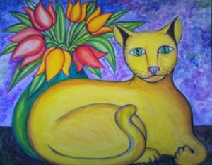 Peinture de Stephane CUNY: Le chat au bouquet II