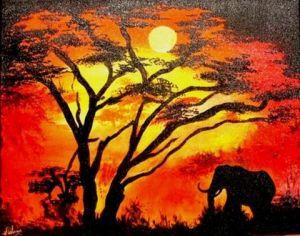 Le coucher de soleil et l 39 l phant peinture melanie lemar - Dessin paysage africain ...