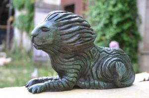 Sculpture de tournesol: le lion dans le vent