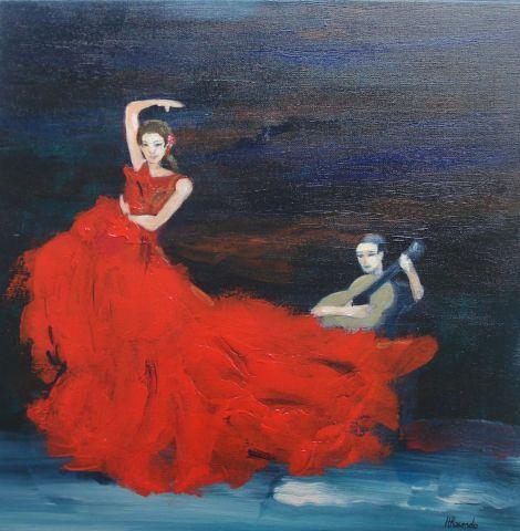 Danseuse de flamenco peinture helene rosendo - Dessin danseuse de flamenco ...