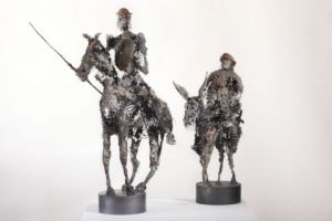 Sculpture de Breval: don quichotte et sancho