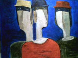 Peinture de marc Maillard: three faces