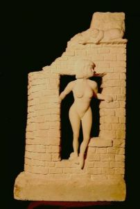 Sculpture de lorus: la fille aux chats