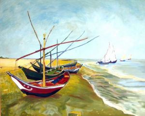 Peinture de Martine YVOREL: Barques aux Saintes Maries