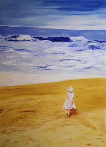 la petite fille sur la plage peinture theile clauss isabelle. Black Bedroom Furniture Sets. Home Design Ideas