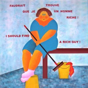 Peinture de Jideka: Faudrait que je trouve un homme riche ! - I should find a rich guy !