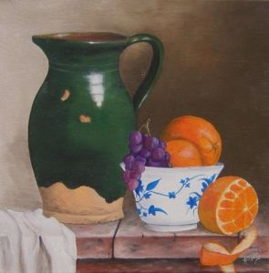 Peinture de Jacques TRAVERS: nature morte pichet et fruits
