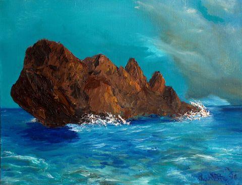 Rocher dans la mer - Peinture - LAHITTE