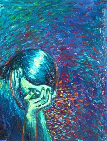 Femme triste peinture tetris for Comment diluer de la peinture