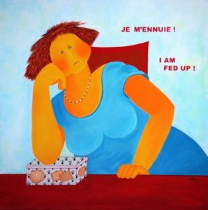 Peinture de Jideka: Je m'ennuie !  -  I am fed up !