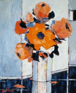 Peinture de francis JALIBERT: Bouquet orange