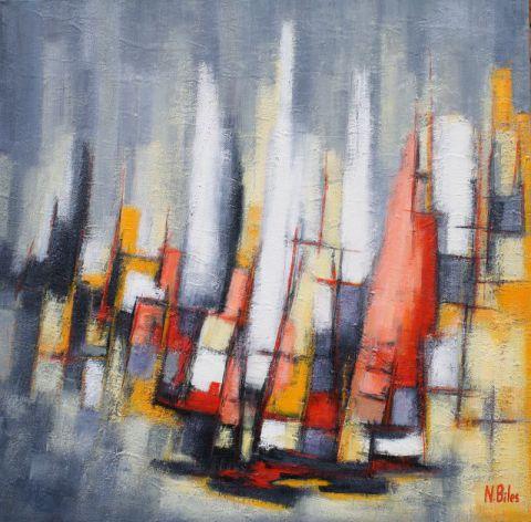 Bateaux Dans Le Brouillard Peinture Nicole Biles