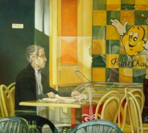 Peinture de DL Estrabaut: Bar n�11 � Lecture au Point Chaud �