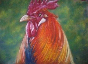 Peinture de nancy LAZZARONI: Le coq by Nancy Lazzaroni
