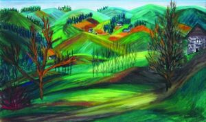 Peinture de Catherine Dutailly: Monts et vallons (massif central)