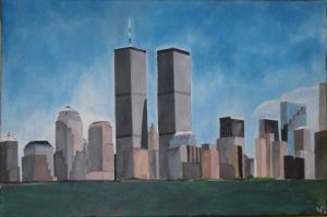 Peinture de walter PICASSO: Manhattan before 11/09/2001
