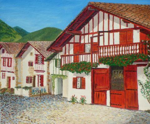 Maison basque peinture josiane - Maison close pays basque ...