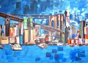 Peinture de roseline chouraqui: brooklyn bridge