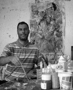 Photo de SAMI SAHLI: the artist SAMI SAHLI  in the studio.