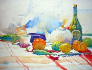 Peinture de Andre Mehu: Poivrons rouges,fruits et th�i�re