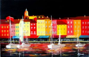 Peinture de Martine YVOREL: ST Tropez by night