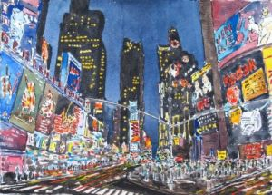 Peinture de ROGER J: Manhattan à New York