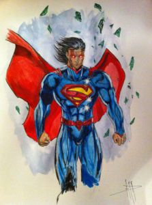 Dessin de Anthony Darr : Superman broken Kryptonite