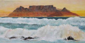 Peinture de Meryl QUIGUER: Yellow sunset over Cape Town