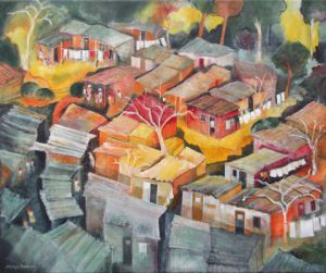 Peinture de Meryl QUIGUER: Shacks in the woods